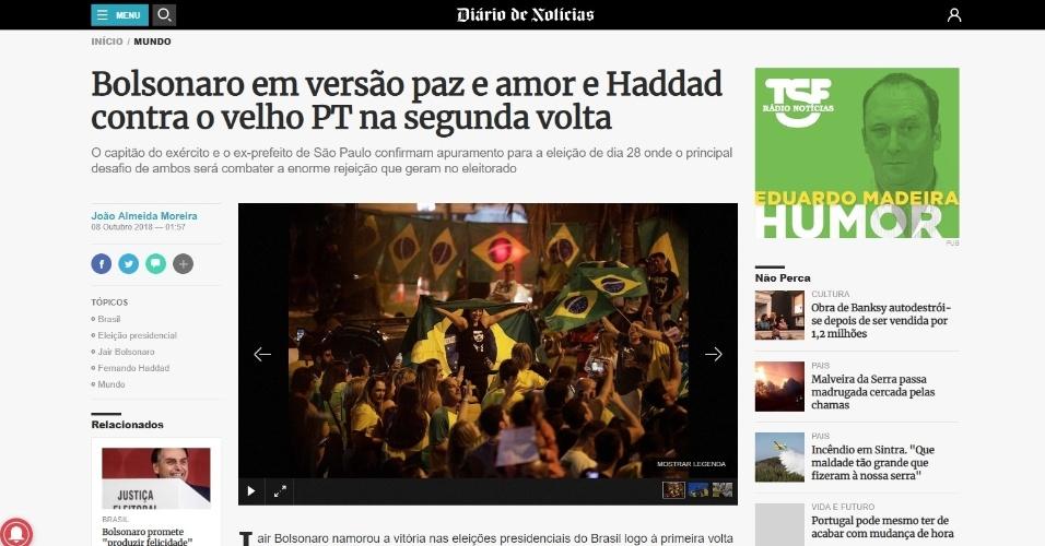 """Diário de Notícias (Portugal): """"Bolsonaro em versão paz e amor e Haddad contra o velho PT no segundo turno"""""""
