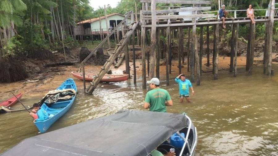 Comunidade de Cametá, no Pará, distante da capital, Belém, tem viagem de mais de 40 km de barco para chegar à região ribeirinha - Reprodução/Facebook