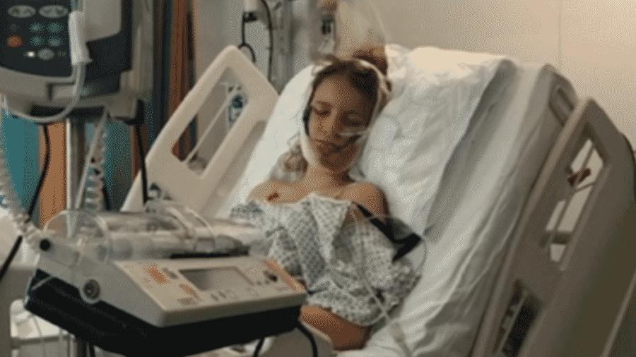 Emily Eccles no hospital, após o acidente - Reprodução/BBC