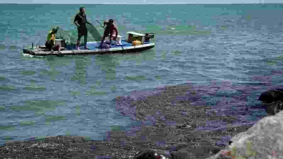O óleo já atingiu mais de 450 praias do litoral nordestino, como a de Paulista (PE), e chegou ao Espírito Santo - Leo Malafaia/AFP