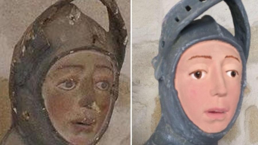 """Escultura de São Jorge antes e depois da restauração; objetivo era apenas """"arrumar um pedaço que estava sujo"""" - ArtUs Restauración Patrimonio"""