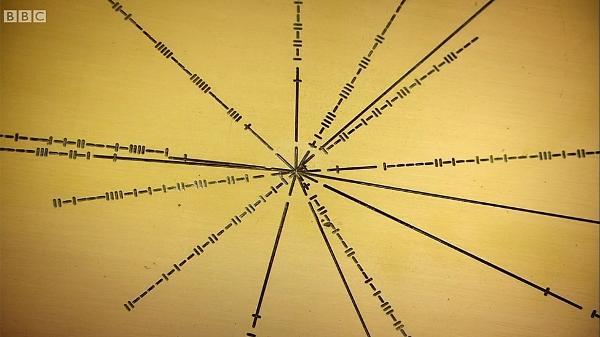Tilt - Sequência de traços verticais e horizontais que você vê ao lado das linhas são números binários que indicam as frequências de pulso necessárias para identificar os pulsares - BBC - BBC