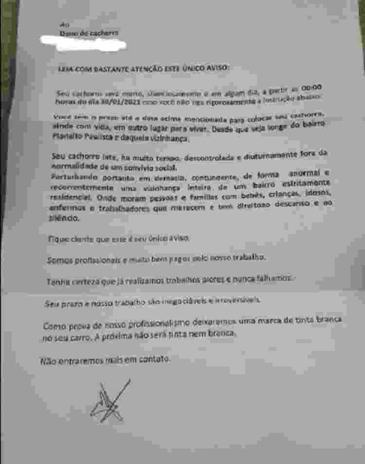 Família recebe carta anônima com ameaça de morte a cachorra em SP - Reprodução/Facebook - Reprodução/Facebook
