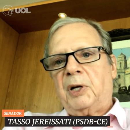 O senador Tasso Jereissati (PSDB-CE) durante o UOL Entrevista - UOL