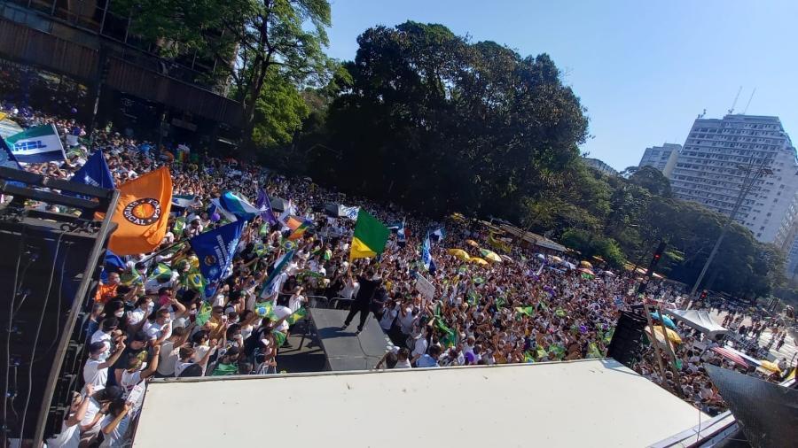 Imagem aérea do público na avenida Paulista em ato convocado pelo MBL contra Bolsonaro - Juliana Arreguy/UOL