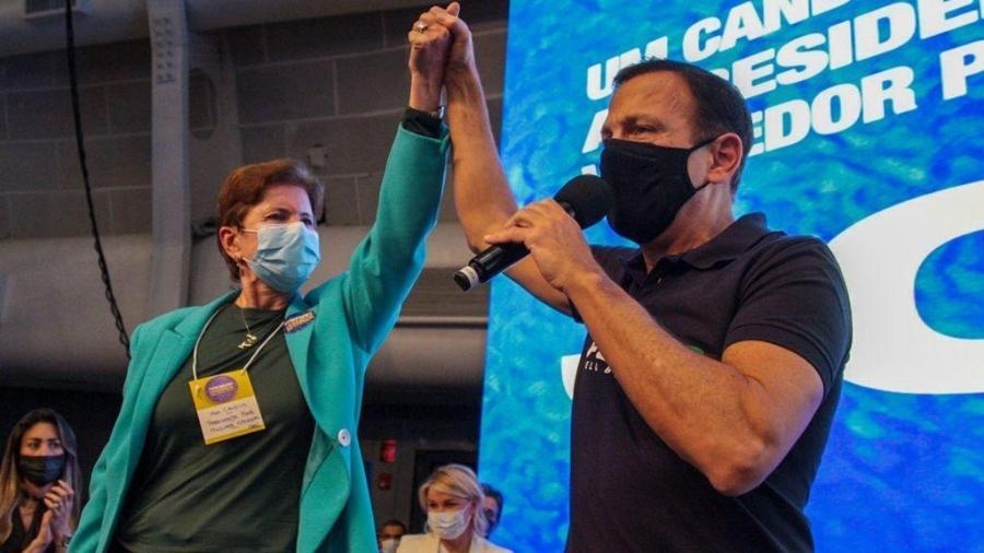 Governador João Doria (PSDB-SP), pré-candidato à presidência da República, e a ex-governadora Yeda Crusius (PSDB-RS) em evento das prévias, em São Paulo - Divulgação/PSDB