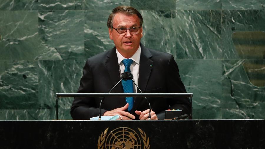 Jair Bolsonaro discursa na 76ª Assembleia Geral da ONU (Organização das Nações Unidas) - Eduardo Munoz-Pool/Getty Images