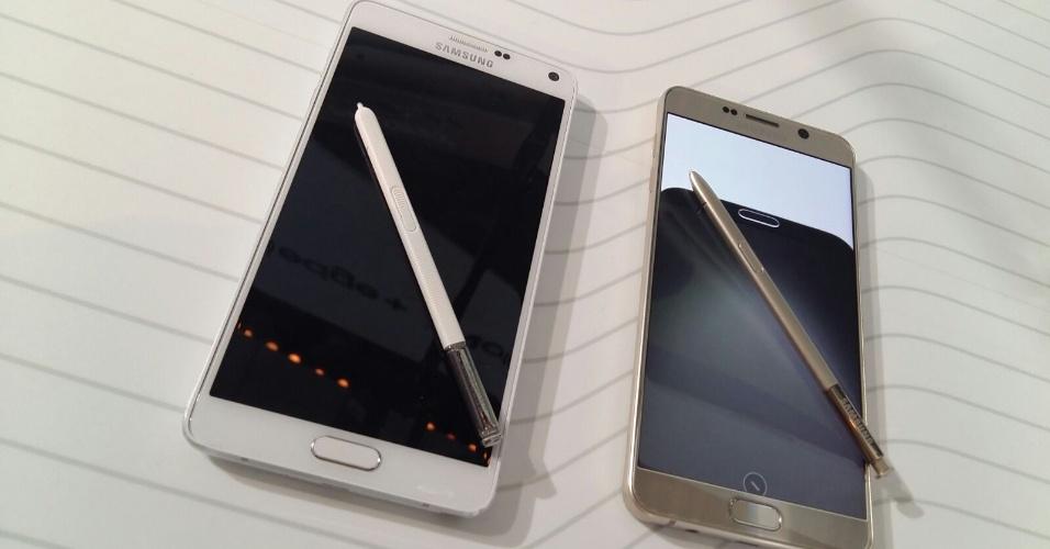 Comparativo traz Note 4 (à esquerda) e o novo Note 5 (à direita)