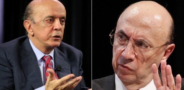 O senador José Serra (à esq) e o ex-presidente do Banco Central Henrique Meirelles