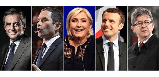 20.abr.2017 - Principais candidatos à Presidência da França, da esquerda para a direita: François Fillon, Benoit Hamon, Marine Le Pen, Emmanuel Macron e Jean-Luc Mélenchon