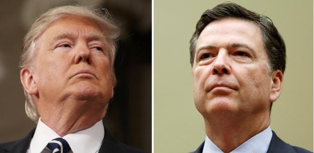 O presidente dos EUA, Donald Trump (esq.), e o ex-diretor do FBI James Comey