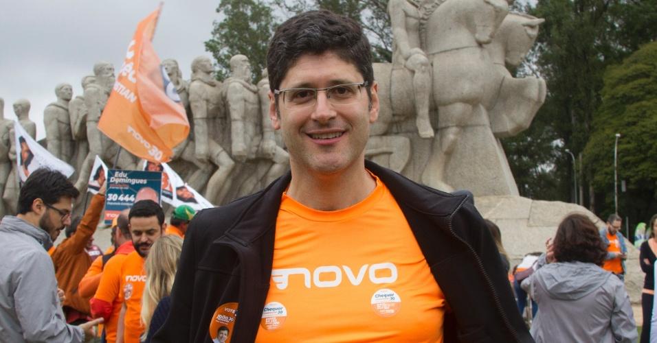 O candidato ao Governo do Estado de São Paulo pelo Novo, Rogério Chequer, participou do encerramento da campanha no Monumento às Bandeiras
