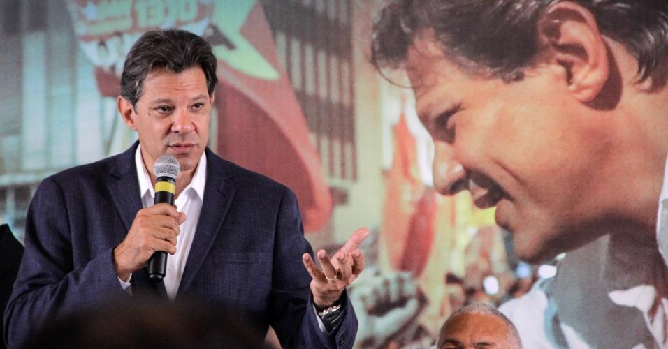 17.out.2018 - O candidato a presidência da República pelo PT, Fernando Haddad, durante encontro com pastores e líderes evangélicos no Excelsior São Paulo Hotel, no centro de São Paulo (SP), na manhã desta quarta-feira (17).