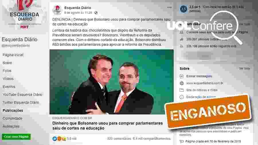 22.ago.2019 -  Post no Facebook trata de forma enganosa destinação de recursos remanejados pelo governo Bolsonaro - Arte/UOL