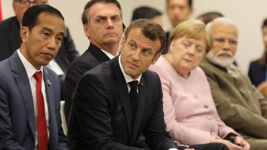 Macron e Bolsonaro no G20 - Dominique JACOVIDES/POOL/AFP