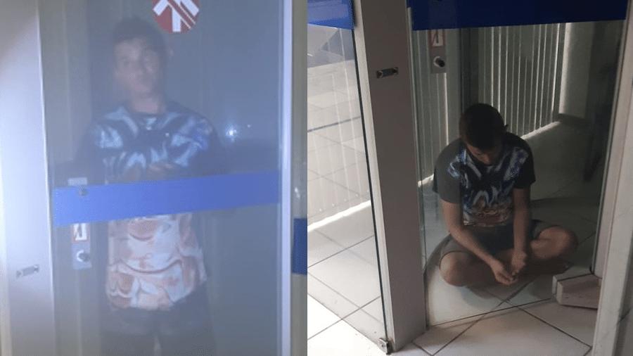 Helton Barros Soares ficou preso em porta giratória de banco, em Fortaleza. Ele é suspeito de tentar roubar a agência - Polícia Militar