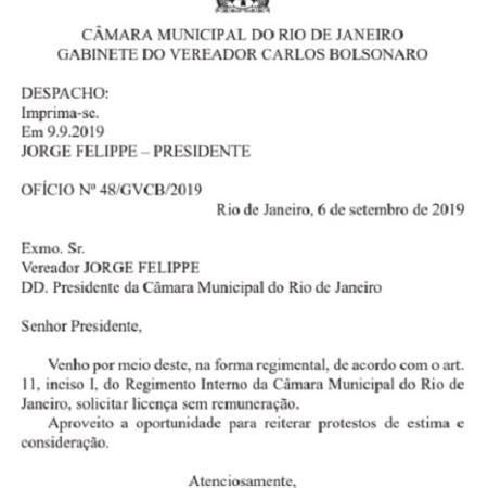 Carlos Bolsonaro pede licença da Câmara de Vereadores - Reprodução/Diário Oficial