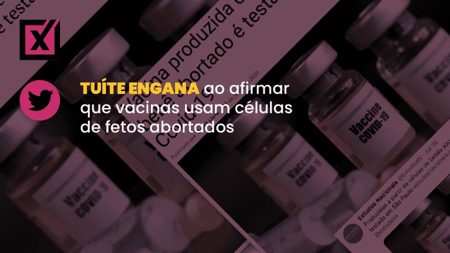 Texto afirma que vacina em testes no Brasil é produzida com células de fetos abortados - Arte/Comprova