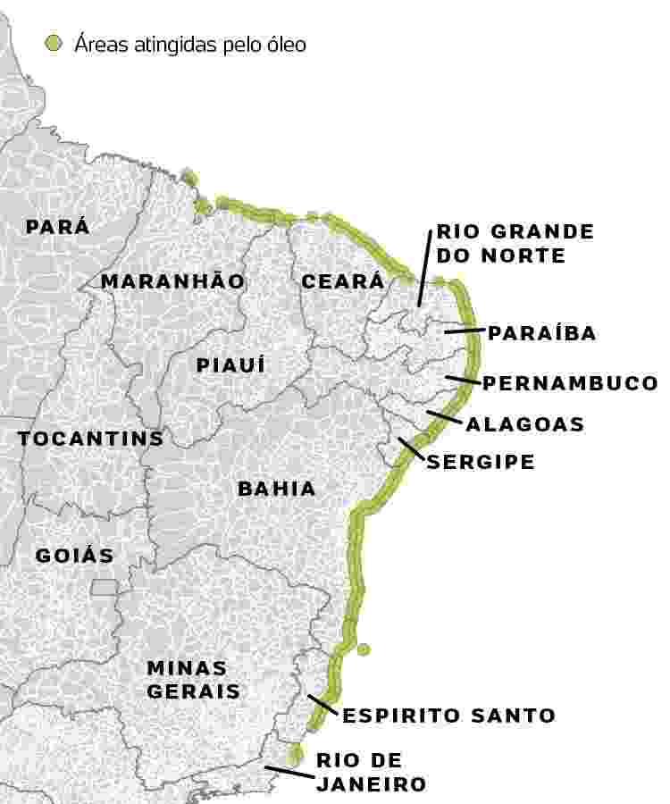 Mapa de lugares agitados pelo óleo no litoral NE -  -