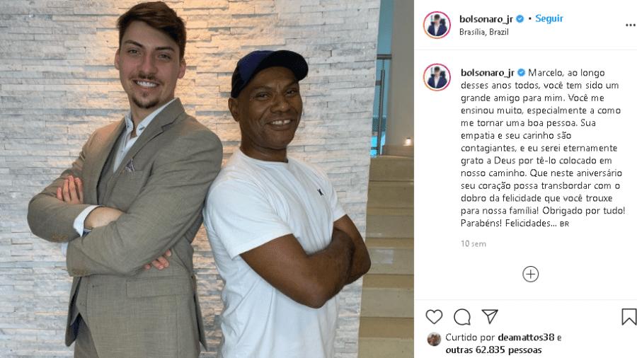 Print de publicação de Jair Renan Bolsonaro em foto com o ex-funcionário da família, Marcelo Luiz Nogueira dos Santos - Reprodução/Instagram Jair Renan Bolsonaro