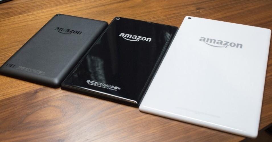 17.set.2015 - Além do Amazon Fire [tablet de US$ 50], a empresa norte-americana anunciou outros dispositivos mais caros e melhores: Amazon Fire HD 8 (meio) e Fire HD 10 (esquerda). Ambos oferecem um processador quad-core de 1,5 GHz da MediaTek. Custam  US$ 150 (cerca de R$ 582) e US$ 230 (R$ 892), respectivamente
