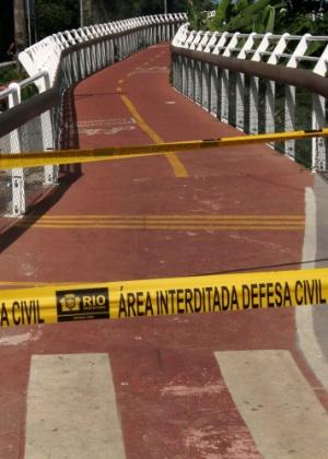 A ciclovia Tim Maia, na avenida Niemeyer, em São Conrado, no Rio, foi interditada após o acidente