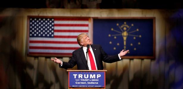 O republicano Donald Trump faz campanha em evento em Carmel, Indiana (EUA)