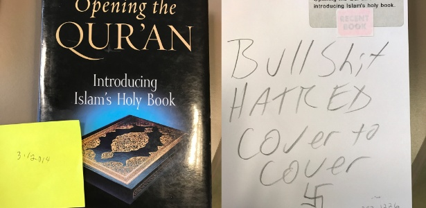 Livro que analisa o Alcorão aparece com inscrições ofensivas e suástica em biblioteca de Illinois