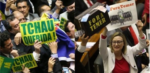 Cenas da votação que autorizou o impeachment de Dilma Rousseff, em abril de 2016 (esq.), e da sessão na Câmara que decidiu sobre arquivamento do caso contra Temer (dir.)