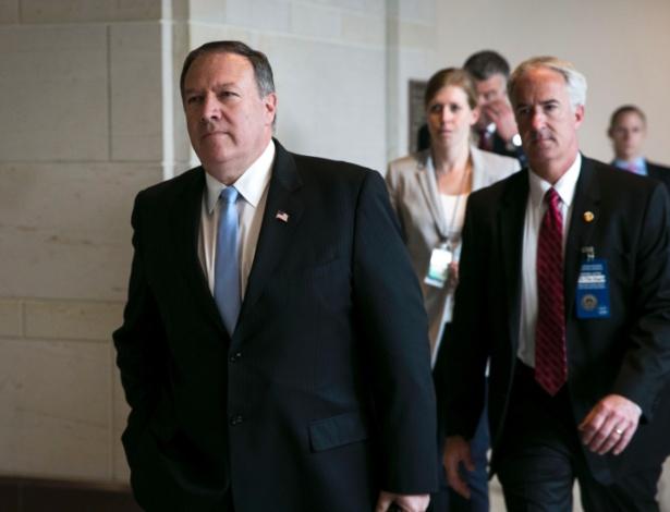 Mike Pompeo, diretor da CIA, em Capitol Hill, em Washington