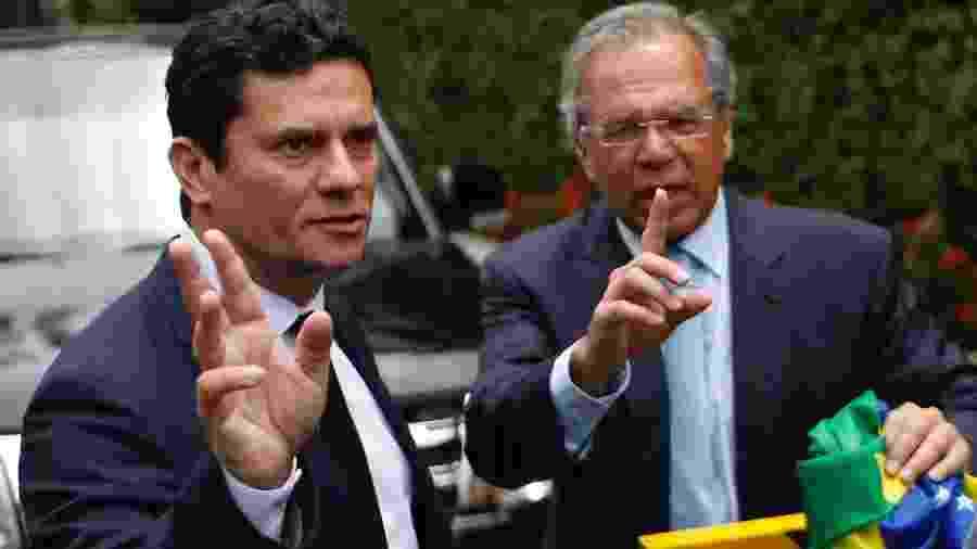 Bolsonaro falou sobre o despreparo dos ministros Sergio Moro (esq.) e Paulo Guedes quando chegaram ao governo - Ian Cheibub/Folhapress