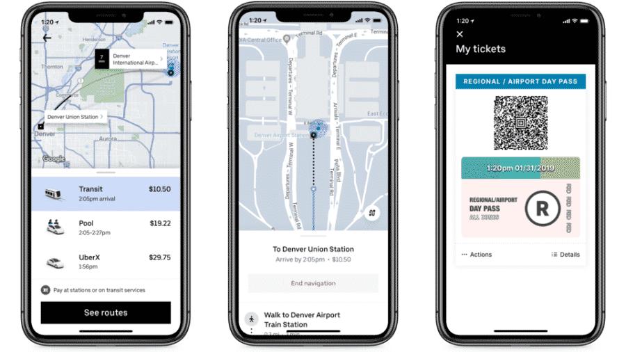 Uber começará a oferecer opções de transporte público no app em Denver - Divulgação