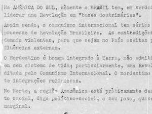 Trecho de documento que cita o perigo do comunismo na América do Sul - Reprodução