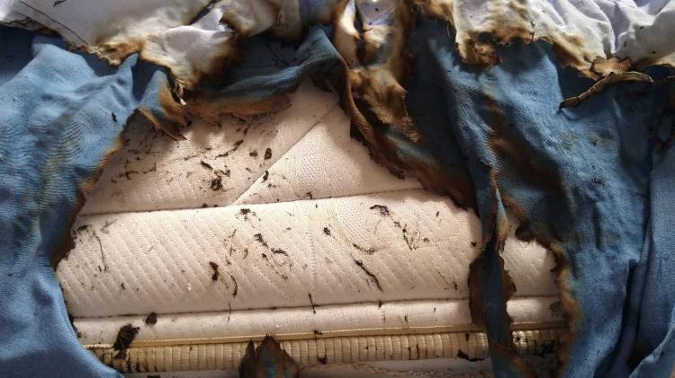Colchão e roupas de cama ficaram destruídos com explosão de celular - Arquivo pessoal