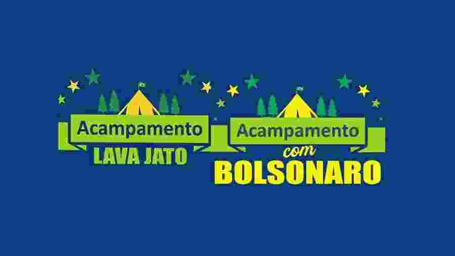 Montagem com os logotipos do acampamento: antes com Moro, agora com Bolsonaro - Reprodução