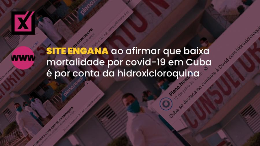 Texto usou trechos de reportagem da agência estatal turca Anadolu sobre a relação da hidroxicloroquina com o baixo número de óbitos por covid-19 em Cuba - Arte/Comprova