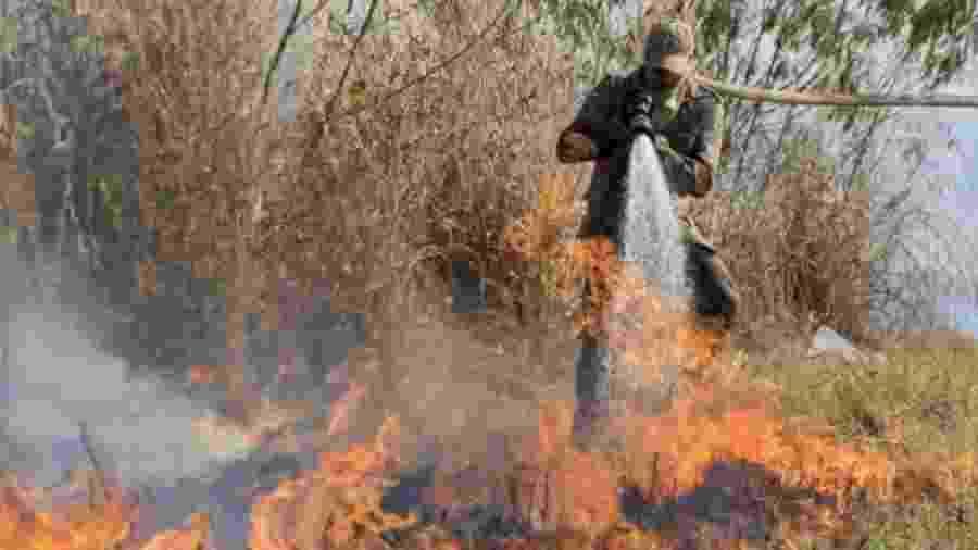 Bombeiro apaga incêndio no Pantanal; bioma já tem recorde de queimadas neste ano - EPA