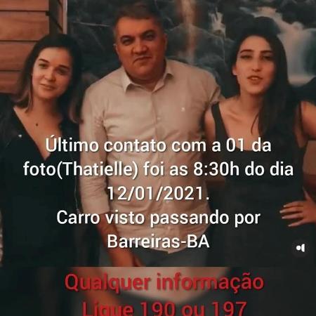 José Cleves Araújo (centro) com a namorada Thatiele Cardoso Aures (esquerda) e a filha Giovanna Araújo (direita) - Reprodução/Redes Sociais