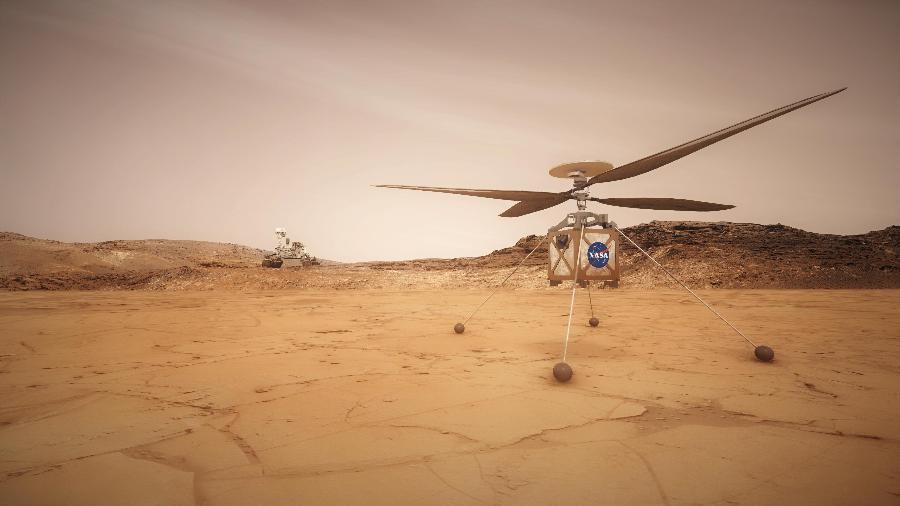 Helicóptero Ingenuity da Nasa, em missão em Marte - Nasa/ JPL-Caltech