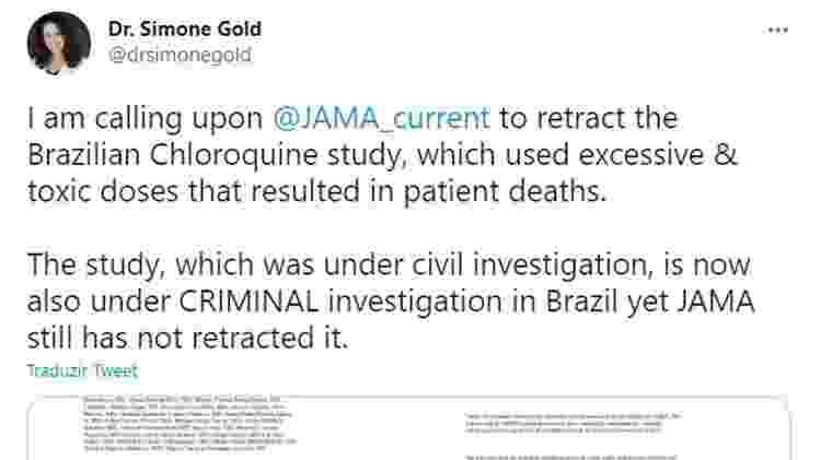 Tuíte Simone Gold 1 - Reprodução - Reprodução