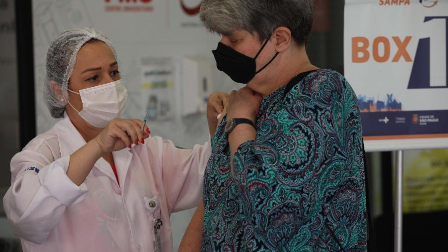 Movimentação no mega posto de vacinação da faculdade FMU em Santo Amaro, zona sul de São Paulo  - RENATO S. CERQUEIRA/FUTURA PRESS/FUTURA PRESS/ESTADÃO CONTEÚDO