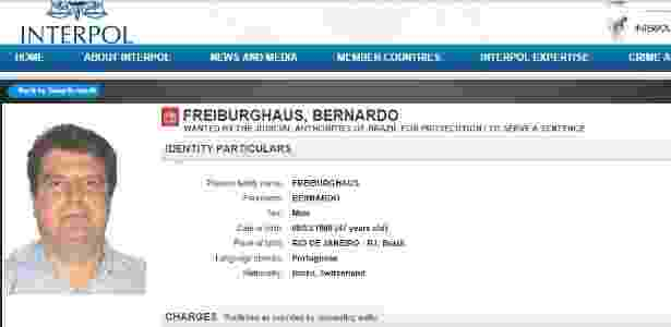 Bernardo Freiburghaus apontado como suposto operador de propinas da Odebrecht foi incluído na lista vermelha da Interpol - Reprodução/Interpol