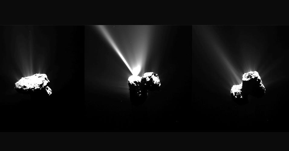 13.ago.2015 - Esta série de imagens do cometa 67P / Churyumov-Gerasimenko foi capturada pela câmera Osiris da sonda Rosetta em 12 de agosto de 2015, apenas algumas horas antes dele atingir o ponto mais próximo do Sol ao longo de sua órbita de 6,5 anos. As imagens foram feitas a uma distância de cerca de 330 km do cometa