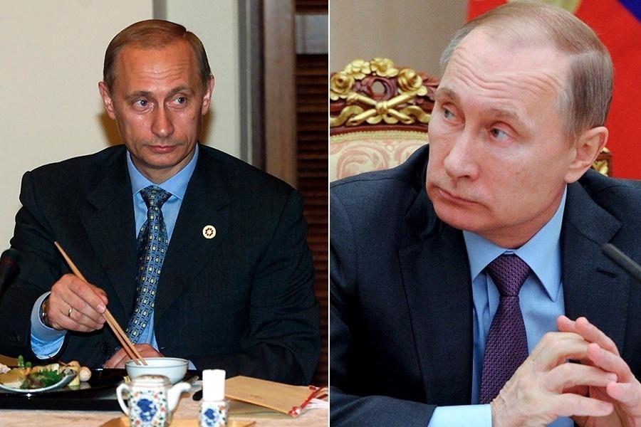 O presidente russo Vladimir Putin é um caso à parte. A primeira vez que ele esteve no cargo máximo da Rússia foi em 2000, quando tinha apenas 48 anos. Em 2008, passou o bastão para Dmitri Medvedev por quatro anos, antes de retornar em 2012. Agora está com 63 anos, dos quais 11 foram como presidente. Que diferença isso fez em sua aparência, não?