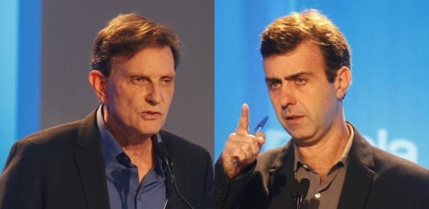 Marcelo Crivella (à esq.) e Marcelo Freixo participam de debate
