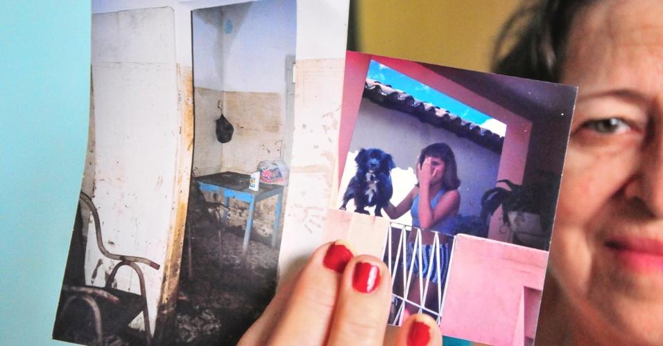 4.jan.2017 - Dona Marli perdeu seu cachorro, Lik, que não conseguiu deixar a casa quando a lama invadiu os cômodos da residência