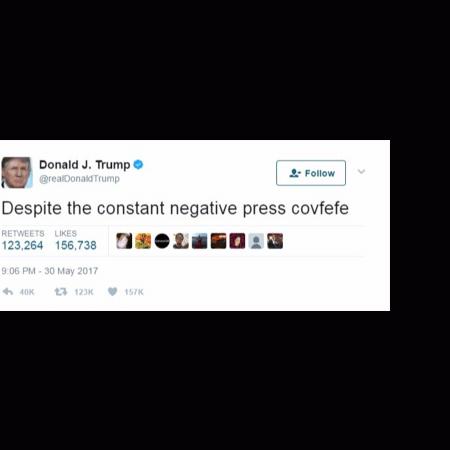 """Tuite de Donald Trump apagado com a """"palava"""" covfefe - Reprodução/ Twitter/ Donald J. Trump"""