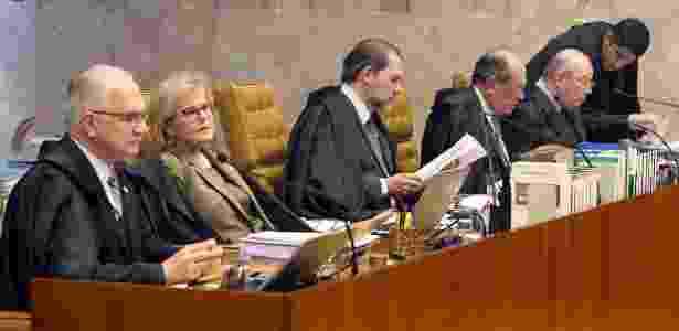 Os ministros do Supremo Tribunal Federal reunidos em sessão plenária, no mês de abril de 2018. - Nelson Jr./SCO/STF