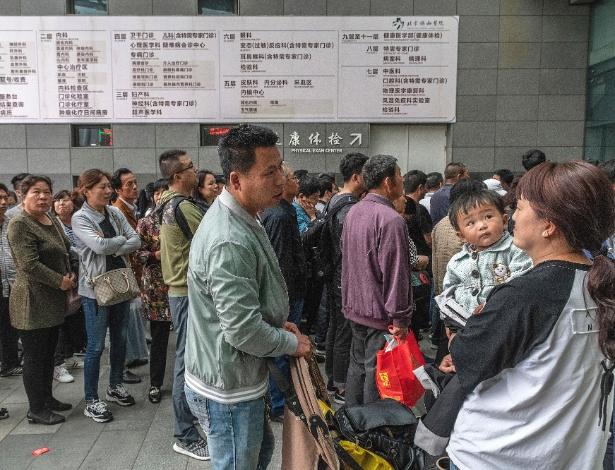 Pacientes aguardam de madrugada pela abertura do ambulatório em um hospital em Pequim, na China
