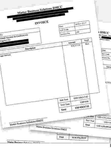 Estas são algumas faturas que Isabel dos Santos assinou em sua última semana na Sonangol - BBC